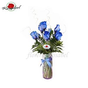 Florero de 10 Rosas Azules