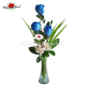 Florero de tres rosas Azules Cdo 04