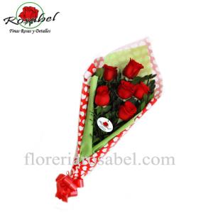 Oferta ramo con seis rosas rojas