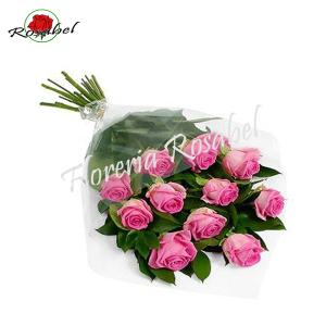 Ramo de 12 rosas rosadas para regalar
