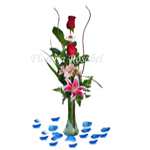 Florero de dos rosas rojas Cdo 06