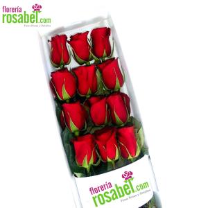 Caja de 12 Rosas Rojas para Regalar