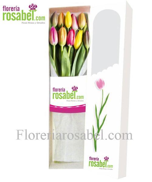 Caja de 10 tulipanes de colores