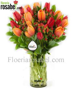 Jarrón con 18 tulipanes, floreros con tulipanes hermosos