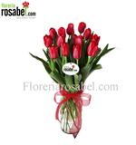 Florero de 10 tulipanes rojos, tulipanes rojos baratos, jarrón con tulipanes envio a lima peru