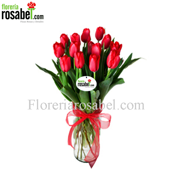 Vase of 10 red tulips, cheap red tulips, shipping to lima peru