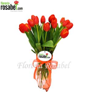 Florero de Tulipanes Naranjas, jarron con tulipanes naranjas