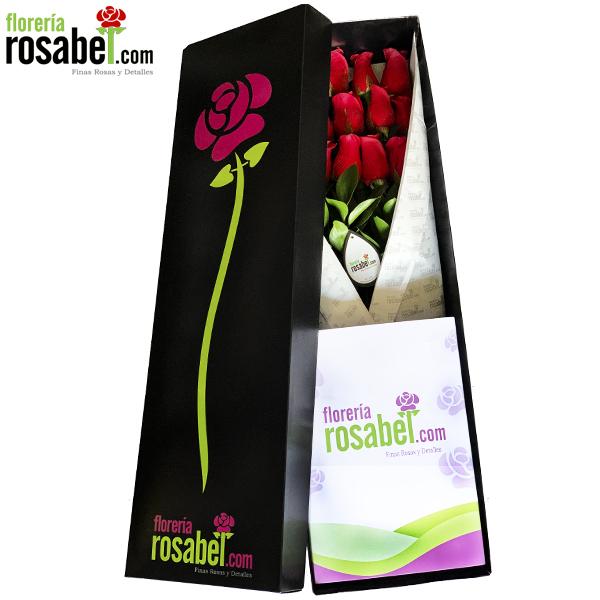 Exclusiva caja negra con 12 rosas rojas, Regala distinción, elegancia y romance con esta elegante caja negra de flores rojas delivery 100% seguro recuerde todo