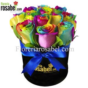 Box de Rosas multicolor, rosas arcoiris lima peru