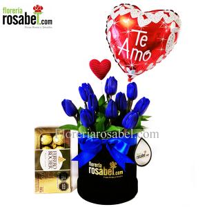10 Tulipanes Azules En Box Premium Delivery