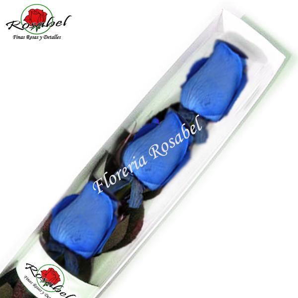 Caja de tres Rosas Azules, rosas azules rosabel, envío a domicilo